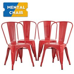 Metal Dining Chairs Set of 4 Indoor Outdoor Chairs Patio Chairs 18 Inch Seat Heigh Kitchen Chair ...