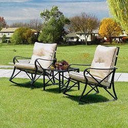 LINLUX 3 Piece Rocking Bistro Set Outdoor Steel Patio Furniture Sets with Two Thickened Cushions ...