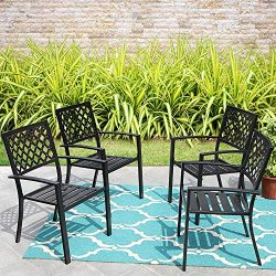 MF Studio Black Metal Patio Stacking Chairs Wave Back Indoor Outdoor Dining Set Wrought Iron Cha ...