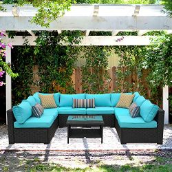 Outdoor Rattan Sectional Sofa – Patio PE Wicker Conversation Furniture Set (9-Piece,Turquoise)