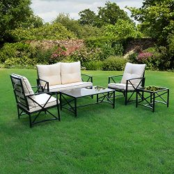 Friday discount Outdoor Patio 5 PCS Metal Furniture Conversation Set with Cushioned Chairs, Coff ...