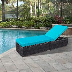 Glowin Outdoor Patio Chaise Lounge Chair, Wicker Chaise Lounge Chair Additional Lounge Chair for ...
