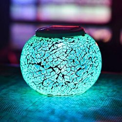 Color Changing Solar Powered Glass Ball Garden Lights, Aukora Solar Table Lights Waterproof Sola ...
