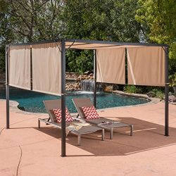 Great Deal Furniture 304392 Wendy Outdoor Steel Framed 10′ Gazebo, Beige, Black