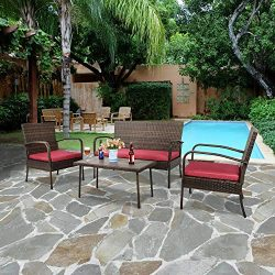 GOJOOASIS 4-Piece Outdoor Garden Patio Furniture Sofa Set Brown Wicker Conversation Set Red Cush ...