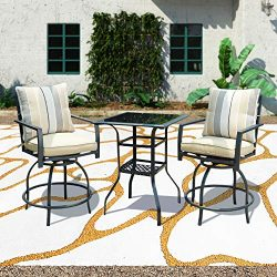 Patio Festival 3 Pcs Outdoor Height Bistro Chairs Set Patio Swivel Bar Stools with 2 Yard Armres ...