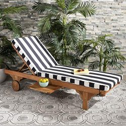 Safavieh PAT7022D Outdoor Collection Newport Teak, Black and White Chaise Side Table Lounge Chair