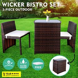 GARTIO 3PCS Wicker Bistro Set, Outdoor Garden Lawn Sofa Furniture, with Glass Top Table and 2 Cu ...