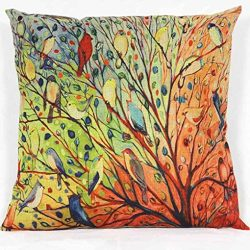 Leewos Floral Pillowcase, Linen Cotton Square Throw Pillow Case for Sofa Bed Cushion Covers (Mul ...