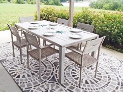Pebble Lane Living All Weather Rust Proof Indoor/Outdoor 7 Piece Cast Aluminum Patio Dining Set, ...