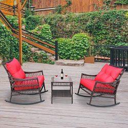 VEIKOU 3 Piece Outdoor Patio Rattan Rocker Chair Outdoor Rattan Conversation Sets with Coffee Ta ...