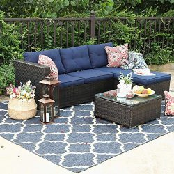 PHI VILLA Outdoor Sectional Rattan Sofa – Wicker Patio Furniture Set (Blue)