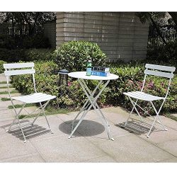 Orange-Casual 3-Piece Folding Outdoor Bistro Sets, Portable Steel Patio Furniture Sets, Garden T ...
