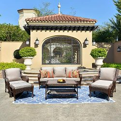 ovios Patio Furniture Sets,6 Pieces Rattan Wicker Sectional Sofa Deep Seating Conversation Set w ...
