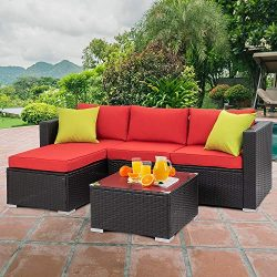 Walsunny Outdoor Rattan Sectional Sofa- Patio Wicker Furniture Set (Red)