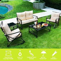 ENSTVER 5-Piece Patio Furniture Conversation Set with Cushioned Loveseat,2 Rocker Chairs,Coffee  ...