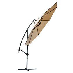 FARLAND Offset Umbrella 10 Ft Cantilever Patio Umbrella Outdoor Market Umbrellas with Cross Base ...