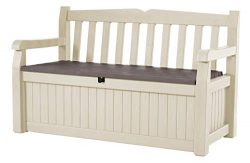 Keter Eden 70 Gal All Weather Outdoor Patio Storage Bench Deck Box , Beige/Brown (Renewed)