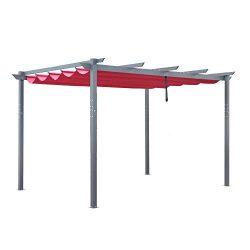 ALEKO Aluminum Outdoor Retractable Canopy Pergola – 13 x 10 Ft – Burgundy Color