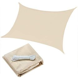 OYE HOYE 7′ x 13′ Sun Shade Sail Beige Rectangle Waterproof Polyester Canopy Sail Sh ...