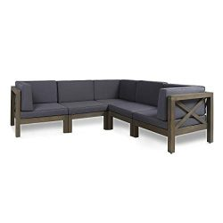 Great Deal Furniture Keith Outdoor Sectional Sofa Set | 5-Piece 5-Seater | Acacia Wood | Water-R ...