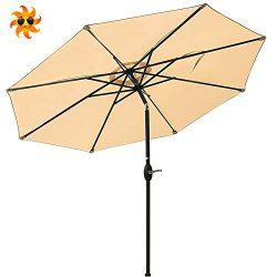 Outdoor Patio Umbrella 9-Feet Aluminum Market Table Umbrella Push Button Tilt Crank (Beige)
