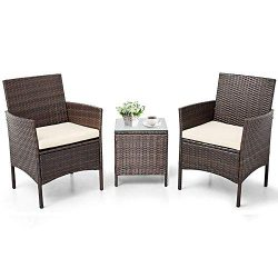 Patiomore 3 Pieces Outdoor Bistro Set Cushioned Furniture Set PE Wicker Patio Chairs with Coffee ...