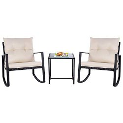 SUNLEI Outdoor 3-Piece Rocking Bistro Set Black Wicker Furniture-Two Chairs with Glass Coffee Ta ...