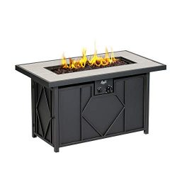 BALI OUTDOORS 42 inch 60,000 BTU Rectangular Gas Fire Pit Table, Propane Fire Pits Outdoor Black