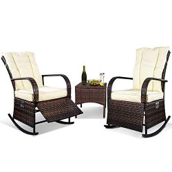 3 Piece Patio Furniture Set Wicker Rattan Outdoor Rocking Conversation Set with 2 Cushioned Chai ...