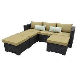 Outdoor Sectional Sofa Set 4-Piece Patio PE Black Wicker Rattan Conversation Furniture with Oliv ...