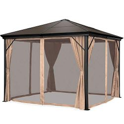 Best Choice Products 10×10-foot Outdoor Aluminum Frame Hardtop Gazebo Canopy for Backyard,  ...