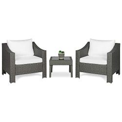 Best Choice Products Set of 2 Outdoor Patio Wicker Club Patio Accent Chairs w/Side Table, Gray