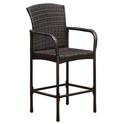 ReunionG Wicker Bar Stool, Outdoor Backyard Patio Furniture Rattan Chair with Armrest Set of 2 B ...