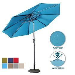 Aok Garden 9 Feet Outdoor Market Patio Umbrella with Push Button Tilt and Crank Lift Ventilation ...