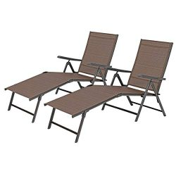 PHI VILLA Outdoor Patio 2 Piece Metal 5 Stages Adjustable Folding Lounge Chair,Beach Yard Pool R ...