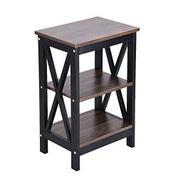 Espresso Finish Wooden Chair Side End Table 3-Tier with Drawer, American Heritage Accent End Tab ...