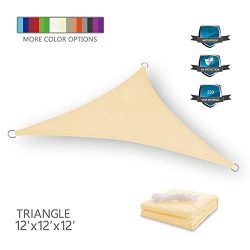 Tuosite Terylene Waterproof Sun Shade Sail UV Blocker Sunshade Patio Equilateral Triangle Knitte ...