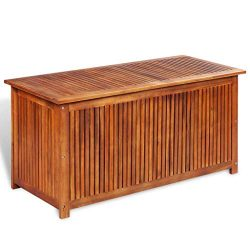Festnight Outdoor Patio Garden Deck Storage Box, Garden Bench Solid Acacia Wood 46.1″ x 19 ...