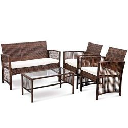 Hooseng Hoosng 4 Pieces Furniture Rattan Chair & Table Patio Set Outdoor Sofa1, Brown