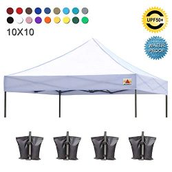 ABCCANOPY Pop Up Canopy 10×10 Replacement Canopy Cover 100% Waterproof Choose 18+ Colors, B ...