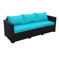 Patio PE Wicker Couch – 3-Seat Outdoor Black Rattan Sofa Furniture with Turquoise Cushion