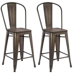 MELLCOM 24 Inch Bar Stools with Bucket Back,Indoor Outdoor Counter Height Stool,Metal Bar Chairs ...
