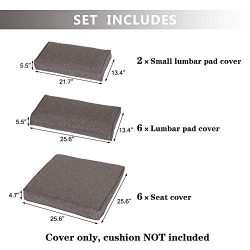 Kinbor Patio Wicker Furniture Sectional Sofa Seat Rattan Patio Seating Cushion Cover Set – ...