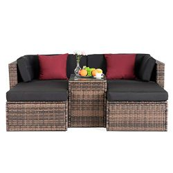 mecor 5PC Wicker Patio Furniture Set, Outdoor Furniture Sectional Cushioned Sofa Set &Glass  ...