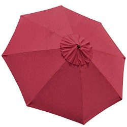 EliteShade 9ft Patio Umbrella Market Table Outdoor Deck Umbrella Replacement Canopy (Burgundy)