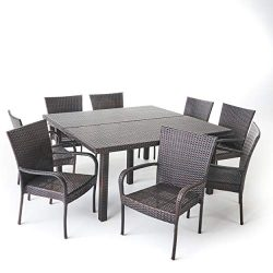 Great Deal Furniture 303925 Fern Outdoor 9 Piece Stacking Multibrown Wicker Square Dining Set,
