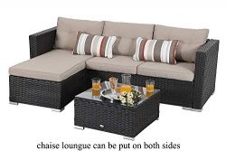 3 Piece Outdoor Furniture Sectional Sofa Patio Set with Upgrade Rattan Wicker, Beige