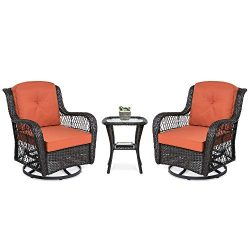 Best Choice Products 3-Piece Outdoor Wicker Patio Bistro Set with 2 360-Degree Swivel Rocking Ch ...
