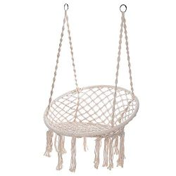 shamolutuo Hammock Chair Bohemian Style Macrame Swing Cotton Hanging Hammock Swing Chair Ideal f ...
